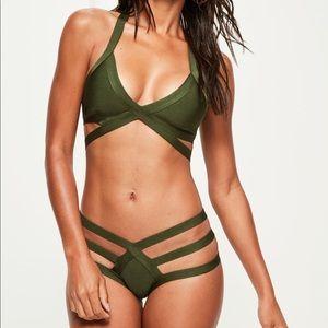 Strapping bandage plunge bikini in olive